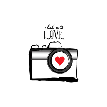 Click with Love lettering with camera for shirt design