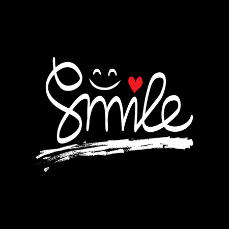 Smile hand lettering. Shirt design. Illustration