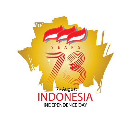 17 agosto. Cartolina d'auguri di giorno dell'indipendenza dell'Indonesia. Illustrazione vettoriale