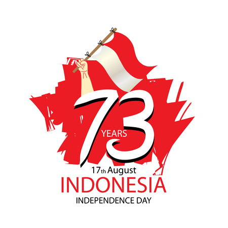 17 August. Indonesia Independence Day greeting card. Vector illustration Foto de archivo - 103389463