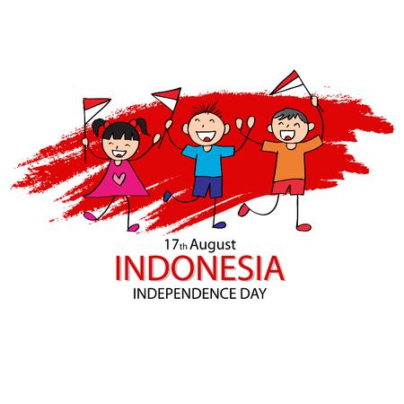 Fête de l'indépendance de l'Indonésie. Dessin à la main garçon et fille tenant le drapeau