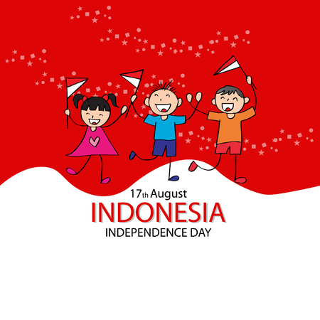 Independence day of Indonesia. Hand drawing boy and girl holding flag