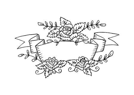 Hand drawing floral frame with rose flowers.