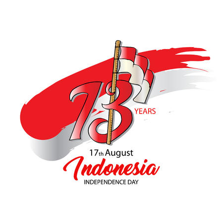 Indonesian Independence day logo Concept. 73 years.