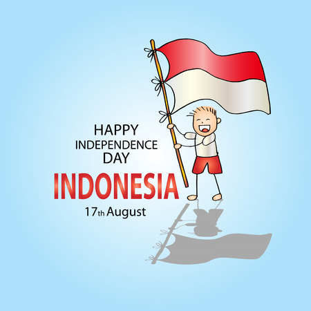Happy independence day, Indonesia. 17th August Illustration