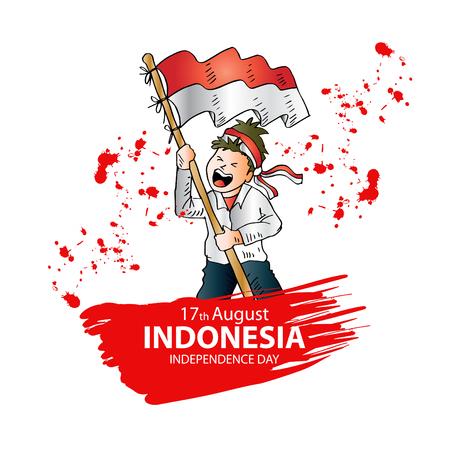 17 agosto. Cartolina d'auguri di giorno dell'indipendenza dell'Indonesia.