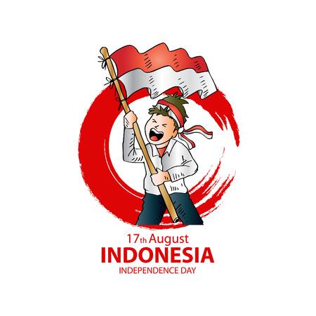 17 augustus. Kaart van de groet van de dag van de onafhankelijkheid van Indonesië.