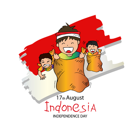 17 August Indonesian Game traditional. Sack race Vettoriali