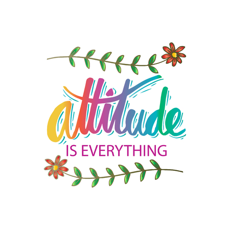 Attitude is everything hand lettering. Motivational quote. 向量圖像