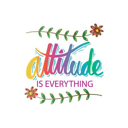 La actitud es todo letras a mano. Cita motivacional.