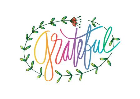 Grateful hand drawn card Vektorové ilustrace
