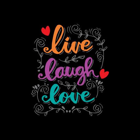 vivere ridere amore scritte. Citazione motivazionale. Vettoriali