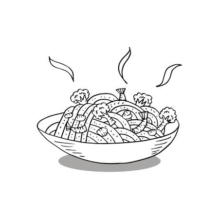 Sketchy of noodle. Hand drawing illustration. 矢量图像