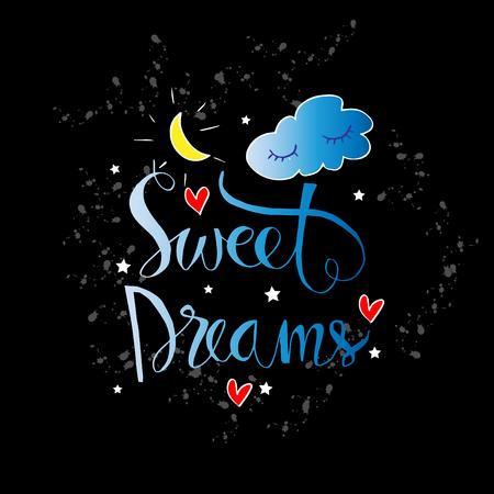 Sweet dreams calligraphy design hand-drawn lettering Ilustración de vector