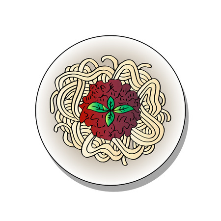 Doodle of pasta on a plate. Hand drawing illustration.