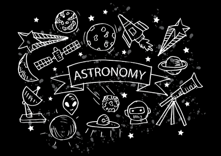 Conjunto de iconos de astronomía. Ilustración de dibujo a mano.