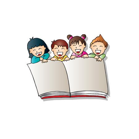 Cartoon kids with opened book Stock Illustratie