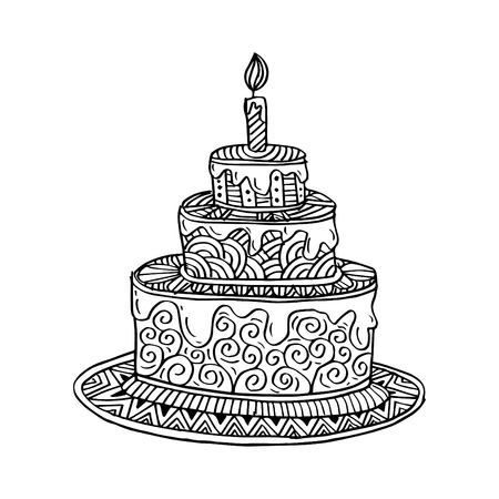 Hand drawn doodle cake. Coloring book. Illustration