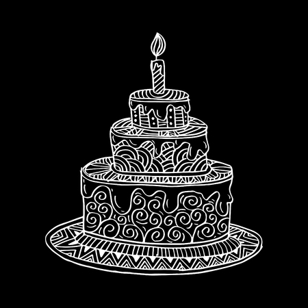 Hand drawn doodle cake.