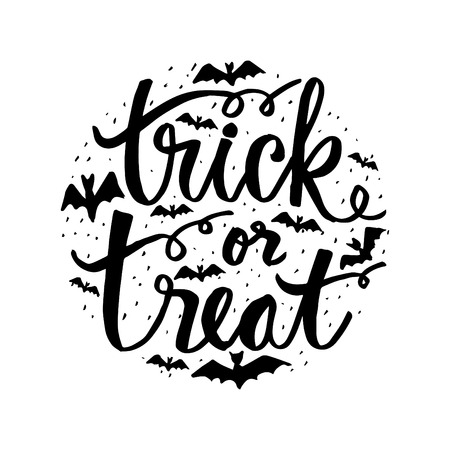 Trick or treat hand lettering. Vetores