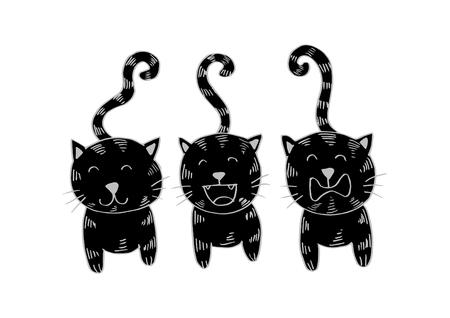 Three cats. Cartoon style.