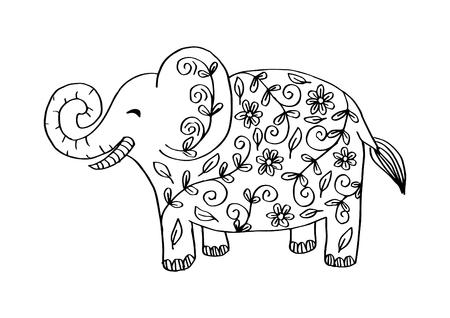 Illustrazione di elefante decorativo. Tema indiano con ornamenti.