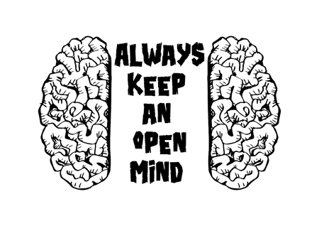 Always keep an open mind. Motivational quote. Illustration