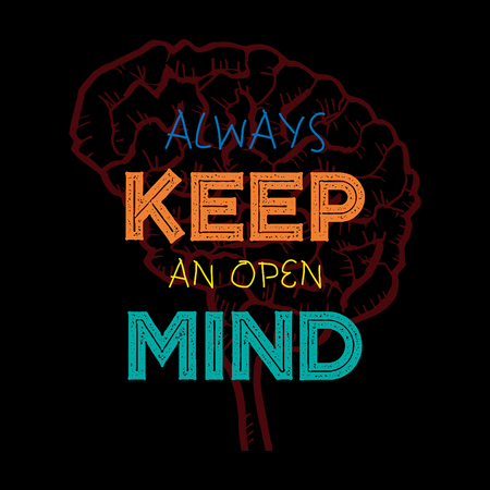 Always keep an open mind. Motivational quote. Ilustrace