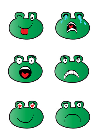 Frog emoticons collection.