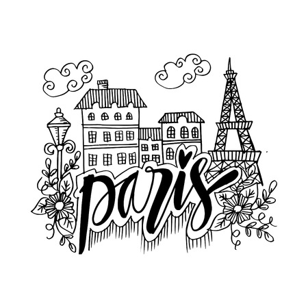 Hand Drawn Symbols Of Paris Иллюстрация