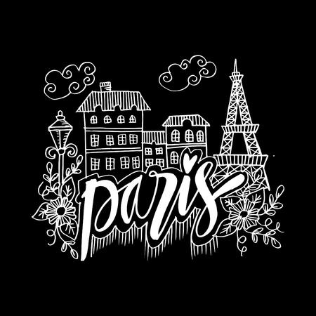 Hand Drawn Symbols Of Paris Vectores