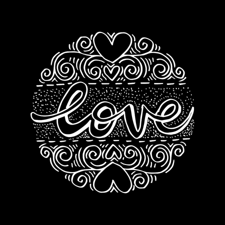 Love Hand lettering Handmade calligraphy on circle background. Illusztráció