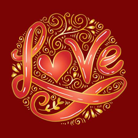 Love Hand lettering Handmade calligraphy on circle background. Illusztráció