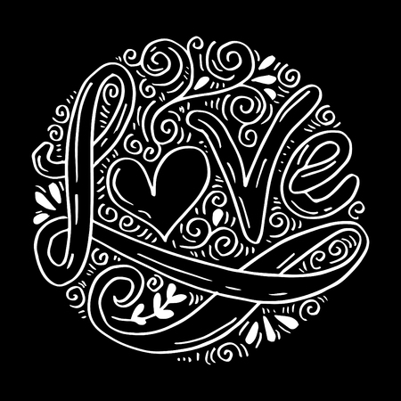 Love Hand lettering Handmade calligraphy on circle background. Illustration