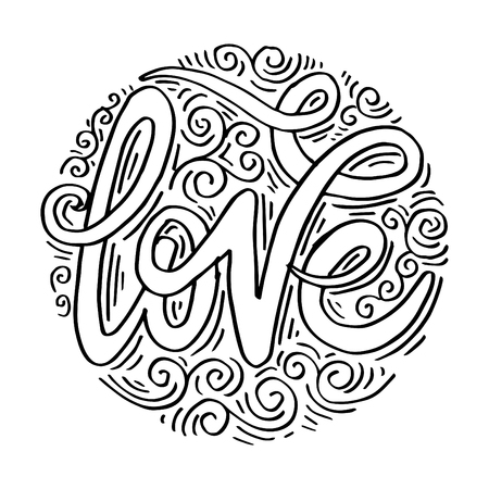 Love Hand lettering Handmade calligraphy on circle background. 矢量图像