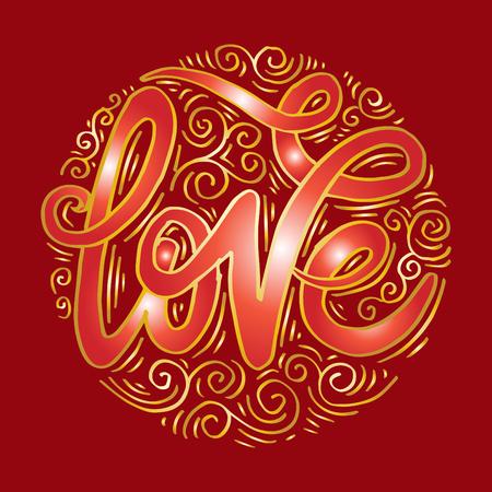 Love hand lettering motivation poster Stock Illustratie