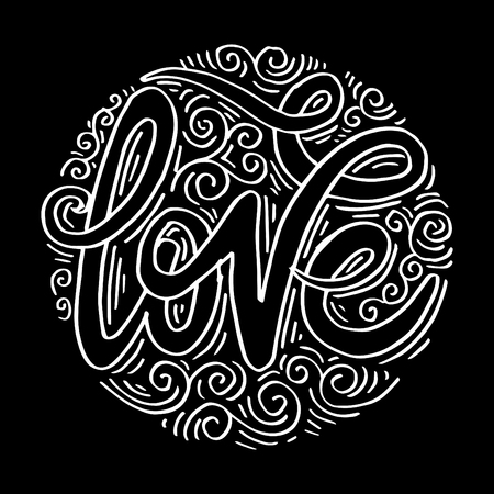 Love hand lettering motivation poster 矢量图像