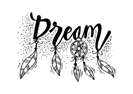 Lettrage de main de rêve. Citation décoration murale. Vecteurs