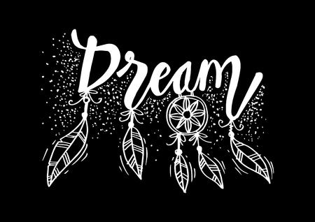 Dream hand lettering. Quote wall decor.