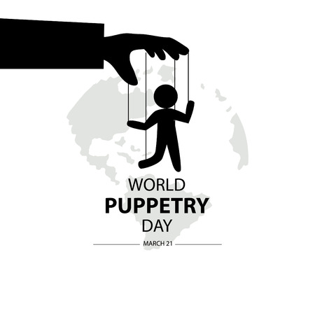 Día Mundial de la Marioneta, 21 de marzo. Ilustración de vector