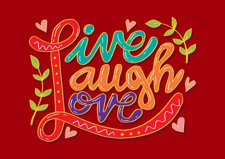 Live Laugh Love Hand Lettered Mots Vecteurs