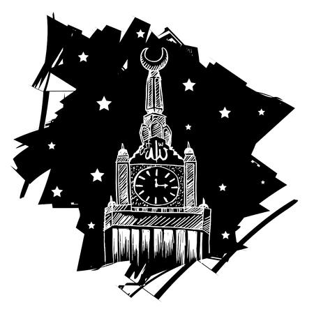 Sketchy of Clock Tower at Mecca