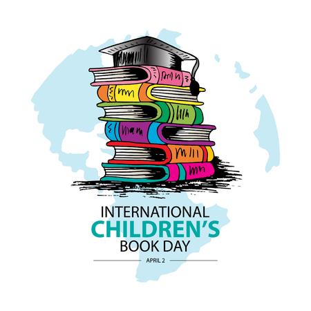 International Children`s Book Day. April 2. Greeting card. Illustration
