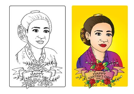 Dibujo para colorear del Día de Kartini. Kartini Day, RA Kartini los héroes de la mujer y los derechos humanos en Indonesia. 21 de abril.