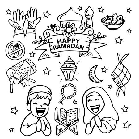 Ramadan hand drawing icon set