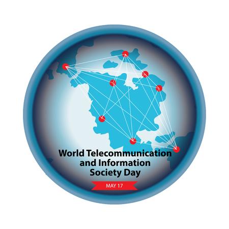 Día Mundial de las Telecomunicaciones y la Sociedad de la Información. Ilustración de vector