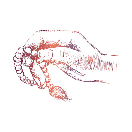 Hands holding a Muslim rosary. Hand drawing illustration.