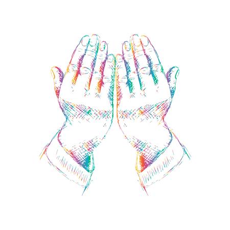 Praying hands. Hand drawing illustration.