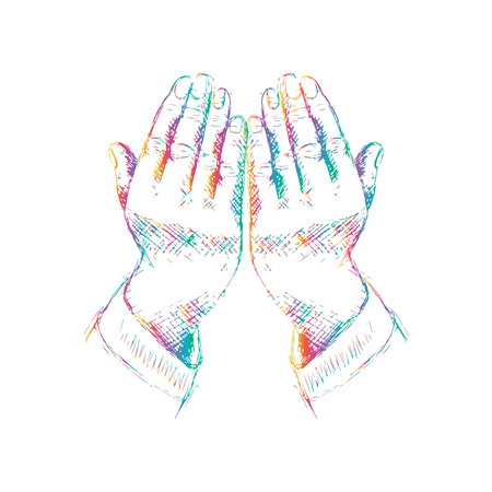 Praying hands. Hand drawing illustration.
