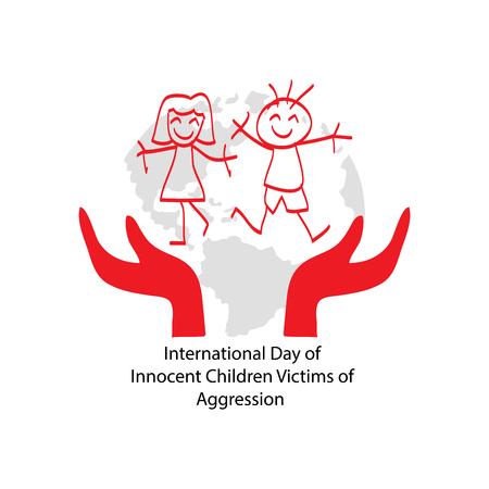 Giornata internazionale dei bambini innocenti vittime di aggressioni Vettoriali